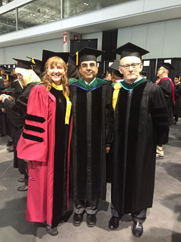 New Fellow of the American College of Physicians, Dr. Shavindar Gill (center) at Convocation in Boston with outgoing Governor Dr. Grady Meneilly (right) and incoming Governor Dr. Dawn DeWitt (left).