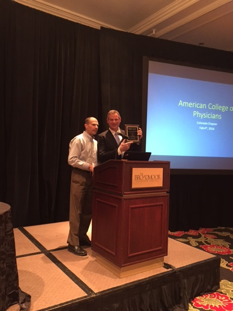 Andy Fine with Service to the Chapter Award winner Ted Parks, MD