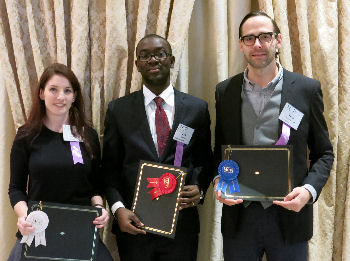 Research Abstract Winners - Ashley Losier, Kofi Osei(accepting for Suraj Tandon), Theo Borgovan