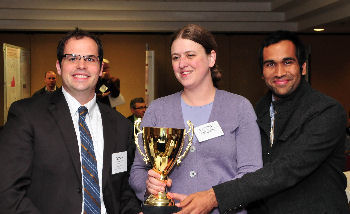 IUSM Doctors' Dilemma team, left to right: Zachary Fulkerson, Cassidy Overpeck, Sandeep Mehta.