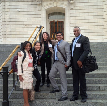 Massachusetts Delegation outside the Capital Building. (left to right - Fatima Cody Stanford, MD, Dana DaEun Im, Elisa Choi, MD, Jacob Koshy, Gene Lambert)