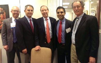 Senator Udall with Sam McBride, Julio Munoz, and Mike Kaufman