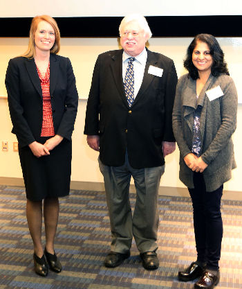 Chapter Executive Director Susan Lynch, Governor Warren Evins, and Program Chair Sandhya Wahi-Gururaj.