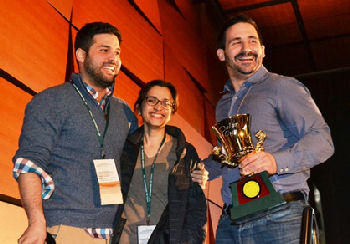 Einstein's unconquerable team celebrated their fourth consecutive national victory and their seventh overall national win at ACP Internal Medicine Meeting 2015 in Boston. Pictured (L to R) team members Jean Bustamante, Chitra Punjabi, and, holding the coveted Osler Cup, Apostolos Perelas. Team alternates, Kene Mezue and Nellowe Candelario are missing from the photo.