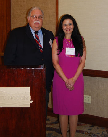 Dr. Mukta Panda being recognized at the chapter meeting for the ACP Outstanding Educator.