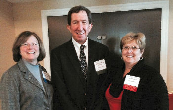 Lisa Ellis, MD FACP (Governor, VA Chapter), Robert Centor, MD FACP (Chair, Board of Regents) and Ann Tennett, Executive Director