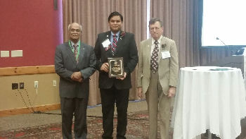 Dr. Noel Deep, FACP from Antigo, WI accepts the 2015 ACP-WI Addis Costello Internist of the Year Award from ACP-WI Governor, Dr. Mark Belknap, FACP and his nominator, Dr. Kesavan Kutty, MACP. The Addis Costello Internist of the Year Award recognizes an active internist noted for diligent effort or achievements in the socio-economic aspects of medical practice.