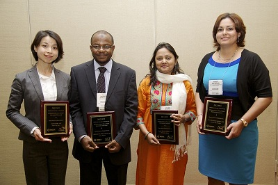 Pictured from left: Dr. Yumie Ikeda (Japan); Dr. Mahmoud Umar Sani (Nigeria); Dr. Aysha Almas (Pakistan); and Dr. Ana Belen Arauz Rodriguez (Panama)